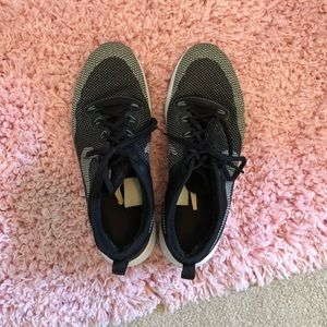 Black and grey Nike gym shoes